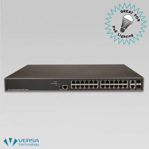 VX-GPU2626 PoE Switch Front - Great for PoE Lighting