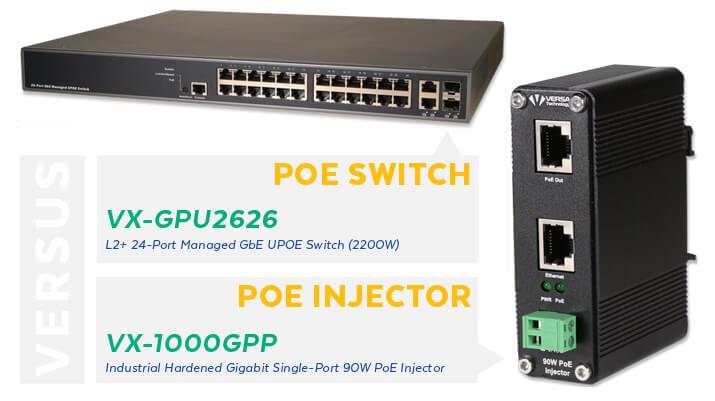 VX-GPU2626 PoE Switch vs VX-1000GPP PoE Injector